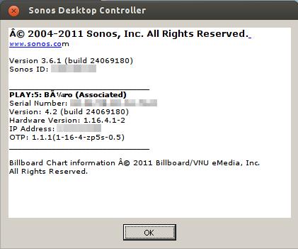 Sonos Controller 3.6.1 mit Sonos-Version 4.2